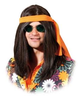 Perücke: Hippie-Perücke für Männer, braun, mit Haarband - 1