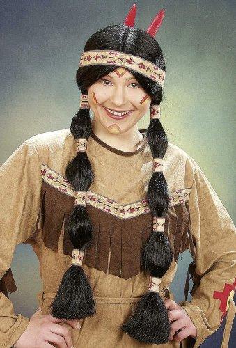 Perücke: Indianer-Braut-Perücke mit Zöpfen, schwarz - 1