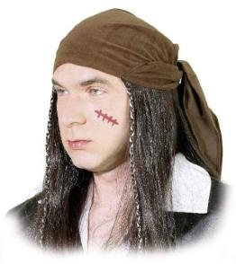 """Perücke, """"Karibik-Pirat"""", mit Kopftuch, braun, unisex - 1"""
