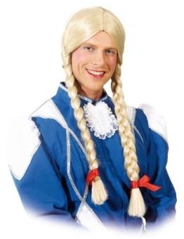 Perücke: Mädchen-Perücke für Männer, blonde Zöpfe, extra groß - 1