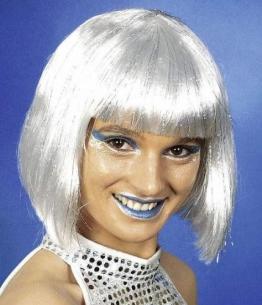 Perücke: Space-Girl-Perücke, weiß-silber - 1