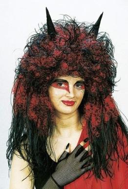Perücke: Teufelsperücke, schwarz-rot, lange Locken, mit Hörnern - 1