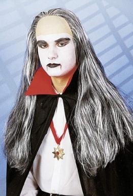 """Perücke: """"Vampir"""", grau melierte lange Haare - 1"""