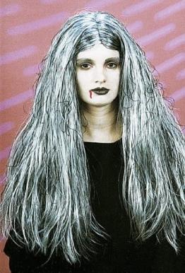 """Perücke: """"Vampirella"""", grau melierte lange Haare - 1"""