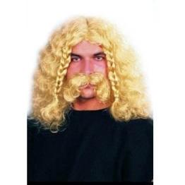 Perücke: Wikinger-Perücke, mit Bart und Zöpfen, verschiedene Farben - 1