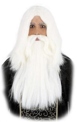 Perücke: Zauberer, weiße Haare mit weißem Bart - 1