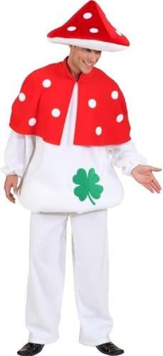 Pilz-Kostüm: weißes Oberteil und Hose, rotes Punkte-Cape, verschiedene Größen - 1