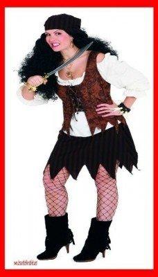 Pirate Woman braun : Rock, Bluse, Weste und Tuch - 1