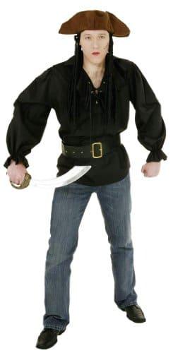 Piratenkostüm: Bluse, schwarz, Größen 50 – 60 - 1