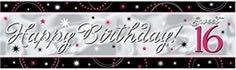 "Riesen-Banner mit Schriftzug ""Sweet Sixteen"", 51 x 165 cm - 1"