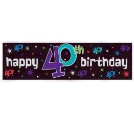 Riesen-Banner zum 40. Geburtstag, 51 x 165 cm, Kunststoff - 1