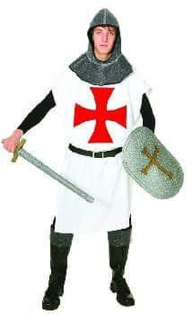 Rittergewand-Kostüm: Waffenrock in Weiß mit rotem Kreuz, 1,20 m lang, Einheitsgröße - 1