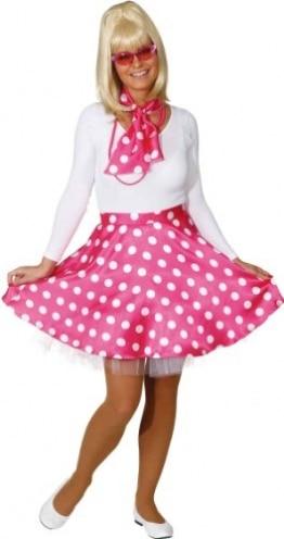 Rock 'n Roll Rock mit Petticoat und Halstuch pink und weiß gepunktet - 1
