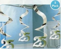 Rotorspirale: Zahl 25, silber, 60 cm, 5er-Pack - 1