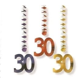 Rotorspirale, Zahl 30, verschiedene Farben, 75 cm, 3er-Pack - 1