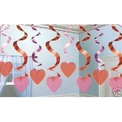 Rotorspiralen: Deckenhänger mit Herzen, 61 cm, 15er-Pack - 1