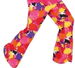 Schlaghose pink-bunt mit Blumen - 1