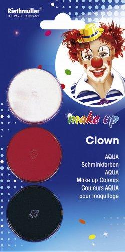 Schmink-Set: Clown-Schminke, Aqua, 8 ml - 1