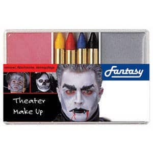Schminkset für den Vampir: Grundschminke, Abschminke und 4 farbige Stifte - 1