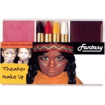 Schminkset für Indianer: Grundschminke, Abschminke und 4 farbige Stifte - 1