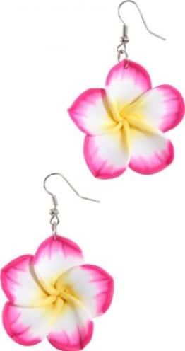 Schmuck: Hawaii-Ohrringe, mit Blüte, pink - 1