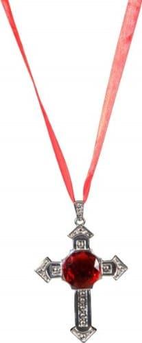 Schmuck: Kette, Kreuz mit rotem Stein - 1