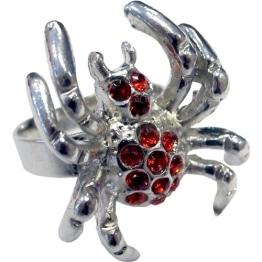 """Schmuck: Ring """"Red Spider"""", Spinnenform mit roten Steinen - 1"""