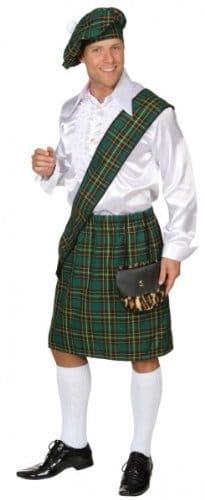 Schotten-Kostüm: Barett, Schärpe und Rock, Einheitsgröße, grün - 1