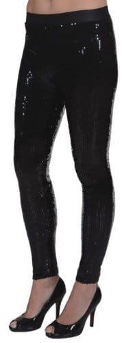 schwarze Paillettenleggings - 1