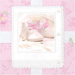 Servietten, Babyschuhe-Motiv, rosa, 16er-Pack, 33 x 33 cm - 1