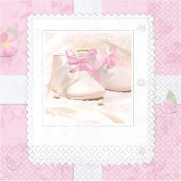 Servietten, Babyschuhe-Motiv, rosa, 16er-Pack, 33 x 33 cm - 2
