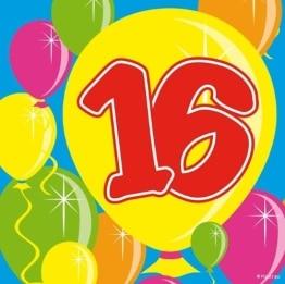 Servietten: Cocktail-Servietten, Zahl 16, Serie Balloons, 25 x 25 cm, 20er-Pack - 1