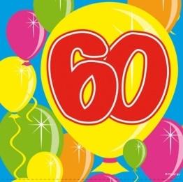 Servietten: Cocktail-Servietten, Zahl 60, Serie Balloons, 25 x 25 cm, 20er-Pack - 1