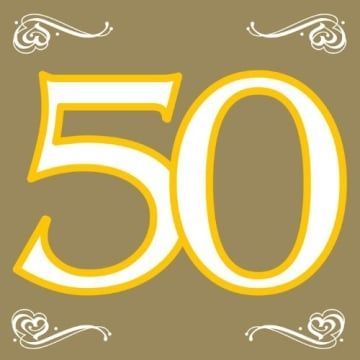 Servietten, Goldene Hochzeit, Zahl 50, 33 x 33 cm, 20er-Pack - 1