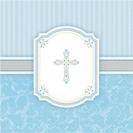 Servietten, hellblau mit Kreuz, dreilagig, 33 x 33 cm, 16er-Pack - 1