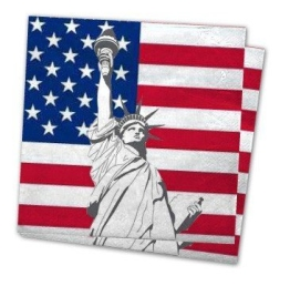 Servietten: Party-Servietten, Amerika-Design, 33 x 33 cm, 20er-Pack - 1