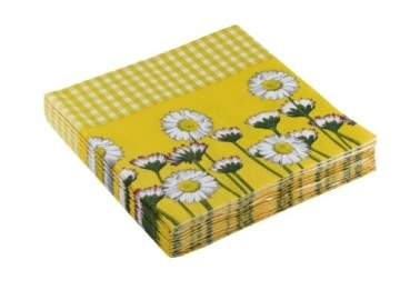 "Servietten: Party-Servietten ""Daisy Yellow"", 33 x 33 cm, 20 Stück - 2"