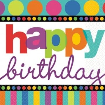 """Servietten: Party-Servietten, """"Dots & Stripes"""", Happy Birthday, 33 x 33 cm, 16 Stück - 1"""