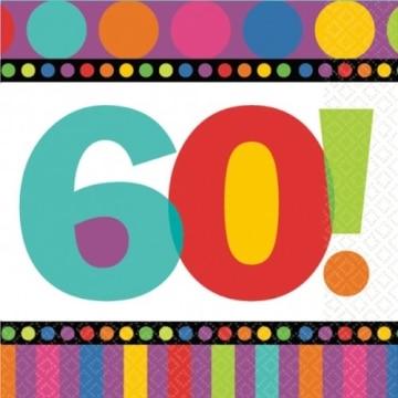 """Servietten: Party-Servietten, """"Dots & Stripes"""", Zahl 60, 33 x 33 cm, 16 Stück - 1"""