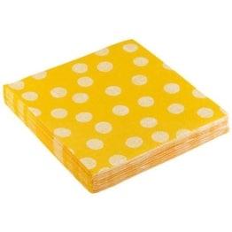 """Servietten: Party-Servietten """"Dots Yellow"""", 33 x 33 cm, 20 Stück - 1"""
