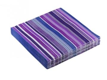 "Servietten: Party-Servietten ""Stripes Purple"", 33 x 33 cm, 20 Stück - 2"