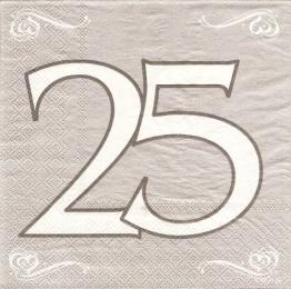Servietten, Silberhochzeit, Zahl 25, 33 x 33 cm, 20er-Pack - 1