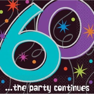 Servietten zum 60. Geburtstag 'Party Continues' 16er-Pack - 2