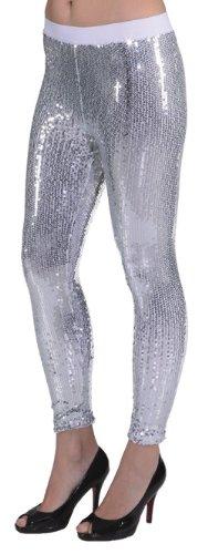 silberne Paillettenleggings - 1