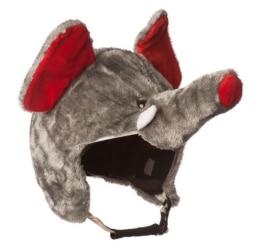 Skihelm-Verkleidung: Skihelmcover, Elefant mit Rüssel und Ohren, grau - 1