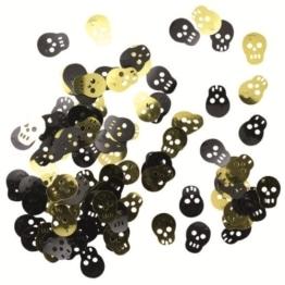 Streu-Konfetti: Tischdeko, Totenkopf, 18 mm, goldene/schwarze Folie - 1