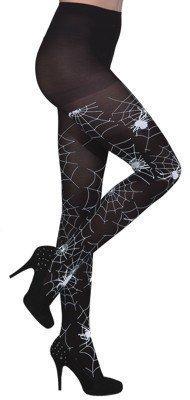 Strumpfhose, schwarz, mit weißen Spinnen und Spinnennetzen, Einheitsgröße - 1