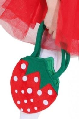 Tasche: Erdbeertasche, rot mit weißen Punkten, grüner Griff - 1