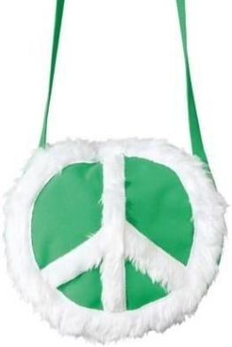 Tasche: Peace-Tasche, grün mit weißem Friedenssymbol - 1