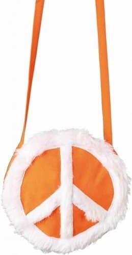 Tasche: Peace-Tasche, orange mit weißem Friedenssymbol - 1